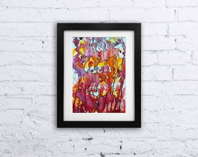 SALE Colorful Abstract-Original Watercolor Painting-Mixed Media Painting, Gift