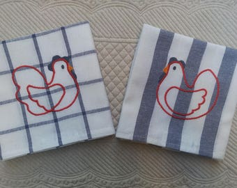 """Tea towels white/blue embroidered set of 4: """"chickens"""""""