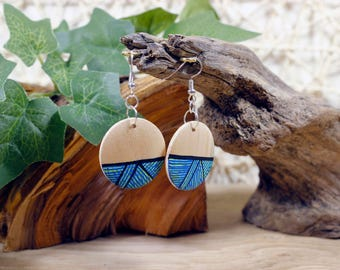 Turquoise // Handpainted wooden Earrings // Small // Round
