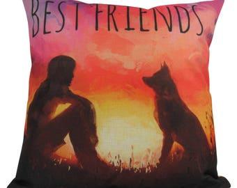 Best Friends | Pillow Cover | Home Decor | Custom Dog Pillow | Dog Mom | Boy and Dog | Best Friend Pillow |  Dog Decor | Dog Lover | Pet