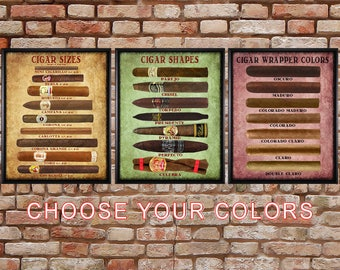 Cigar Art, Discounted Set of 3 -Shape Size Color - Cigar Poster Man Cave Decor Cigar Print Fathers Day #vi175