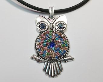 """Pendant """"Glitter Owl Color-Silver"""""""