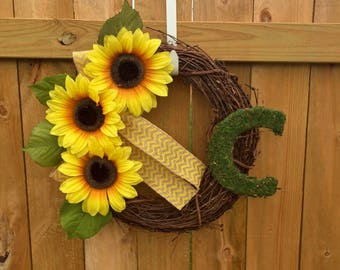 Personalized front door wreath, sunflower wreath with moss monogram letter, fall wreath for door