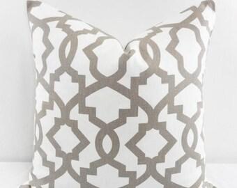 SALE Ecru Pillow Cover. Ecru Sheffield Sofa pillow. Ecru and white Cover.  Cushion Covers.Pillow Case.1 piece. cotton.Select size