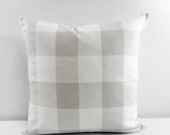 SALE GREY Buffalo Check Pillow. Sofa Pillow. French Grey Cushion Covers.  French Grey