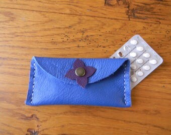 Royal blue leather clover pill pouch