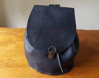 Navy leather handmade backpack