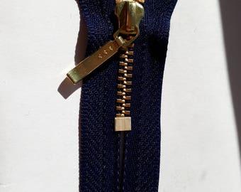 BLUE DARK m3 indivisible Vintage zipper metal teeth size 3 trousers pockets (YKK 058) Zip fastener молния fermeture éclair cipzár רוכסן