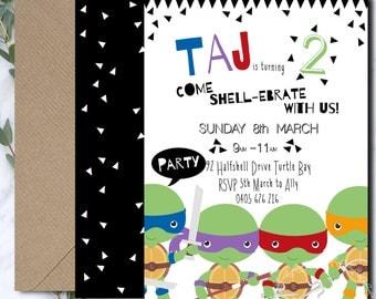 Ninja Turtle Invitation /  TMNT Invitation / Teenage Mutant Ninja Turtle Party / Boys Ninja Turtle Party / Printable Invitation PP041g