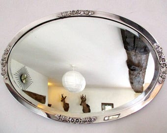 silver gilt mirror art nouveau mirror antique mirror wall mirror bevelled mirror