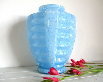 Art Deco Vase, Blue Vase, French Art Deco, Fused Glass, Art Deco Design, Blue Glass, French Vintage, Art Deco Interiors, Decorative Vase