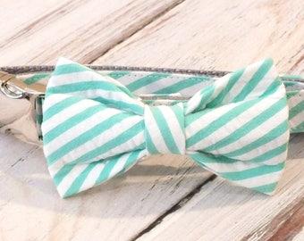 Aloe Seersucker Striped Dog Collar Bow Tie set with metal hardware, pet bow tie, collar bow tie, wedding bow tie