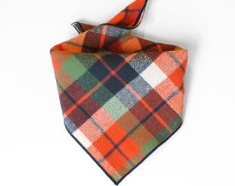 Tie On Orange and Navy Plaid Dog Bandana, Dog Scarf, tie bandana, pet bandana, doggy scarf , scarf for dogs