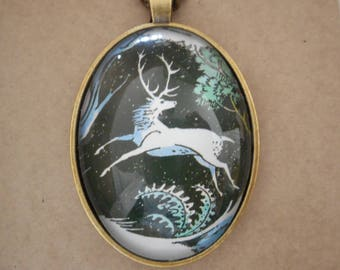 Stag necklace, stag pendant, stag gift, fantasy necklace, winter jewellery, Christmas necklace