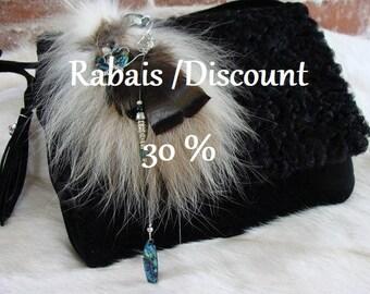 Enjoy 30% discount, small handbag fur and recycled black suede, handmade, Quebec Designer, women.