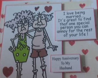Humorous Anniversary Card for Husband or wife
