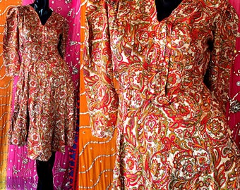 Indian Dress India Silk Dress India Block Print Silk Dress Vintage 70s NWOT India Silk Dress