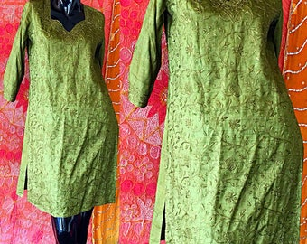 Indian Dress Fabindia India Silk Embroidered Caftan Vintage Silk Embroidered Tunic Dress