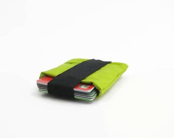 Green Card Holder, recycled card case, small pouch, wallet, minimal wallet, purse, gift for her, gift for him, eco friendly wallet