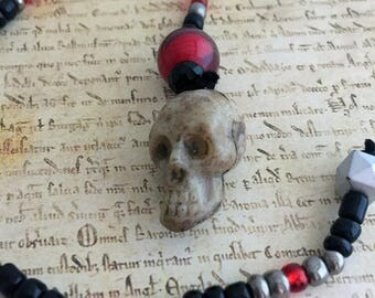 HALF OFF: Red Black and Silver Skull One of a Kind Beaded Bookmark