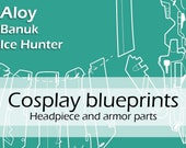 Digital blueprints 'Aloy Banuk Ice Hunter headpiece and armor parts' by Pretzl Cosplay - PDF