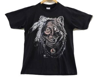 VTG 90s Native American Chief T-Shirt - Large - Spirit Animal - Wolf Tee - Gardner - Lone Wolf - Wolves - Vintage Tee - Vintage Clothing -
