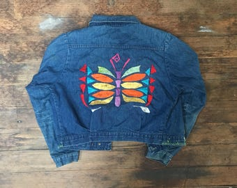 RESERVED! Vintage Hand Embroidered Wrangler Womens Jean Jacket - Small - Marijuana - Butterfly - Wrangler Ladies - Denim Jacket -