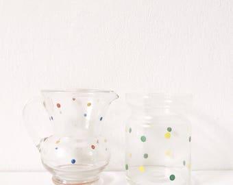 Vintage milk jug and sugar bowl, 1960s polka dot print glass milk jug or small vase