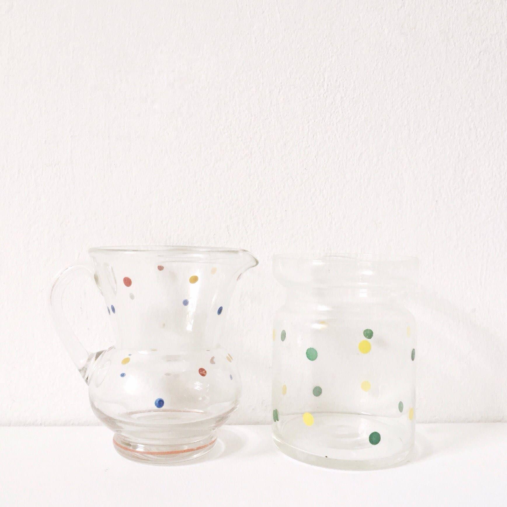 vintage milk jug and sugar bowl 1960s polka dot print glass