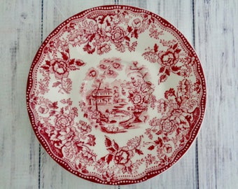 "Royal Staffordshire Clarice Cliff Staffordshire Rec Tonquin 1940s Transferware 5.75"" Saucer Red Rose Pink"
