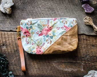 clutch bag / waxed cotton purse / waxed canvas / field forage wristlet / watercolor floral / pouch / pencil case / school supplies