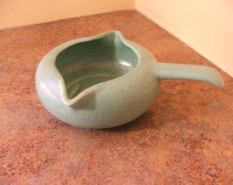 Vintage 1950s A C Davey Speckled Green California Pottery Handled Gravy Bowl
