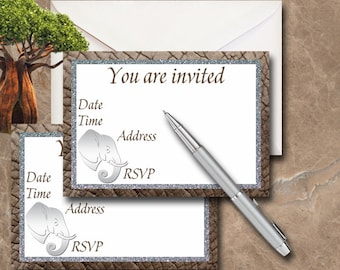Elephant Invitation - Instant Download - Printable Invitation - Party Invitation