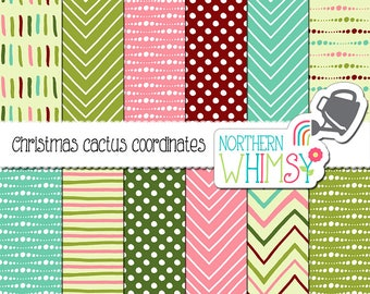 """Geometric Digital Paper - """"Christmas Cactus Coordinates"""" - seamless chevron and dot patterns in pink, green, aqua & red - commercial use OK"""