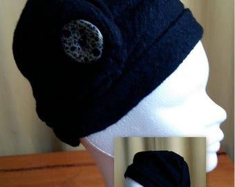 plain black boiled wool hat