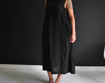 Black handmade linen dress, pretty details, shift dress, loose, in black or white ready to be shipped