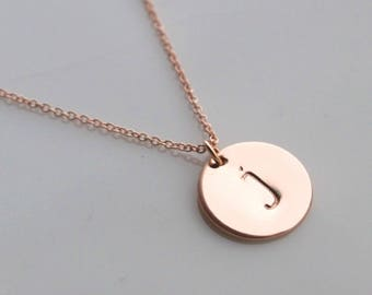 Rose gold letter necklace - large disc, personalised gold disc necklace, name necklace - initial necklace - bridesmaid jewellery
