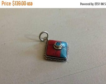 Holiday SALE 85 % OFF Turquoise Red coral  Pendant Gemstones  . 925 Sterling Silver