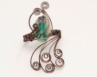 Antique Copper Wire wrapped bracelet cuff , Handmade bracelet cuff,green onyx cabachon Antique copper wire wrapped bracelet cuff