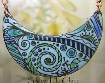 Blue Zen Enamel Pendant, Copper Enamel Jewelry Handmade in North Carolina