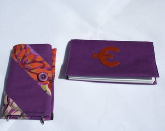 -wallet - wallet and checkbook cover fabric - patchwork - purple