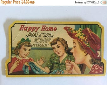 ON SALE Vintage, Happy Home, Needle Book, Assorted Needles, Silver Eye Needles, Threader, Sewing Needle, Vintage Sewing Notion, Quilt, Adver