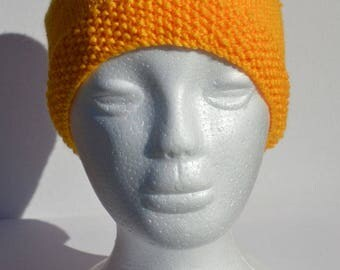 Hand knitted bright yellow adult size beanie