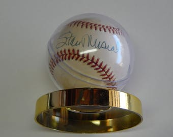 Stan Musial Autograph Baseball with Stand