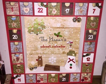 Wooden advent calendar, painted and decorated to match your christmas colour scheme.