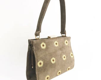 VINTAGE• Y2K 1950s Style Adrienne Vittadini Mini Olive Floral Handbag