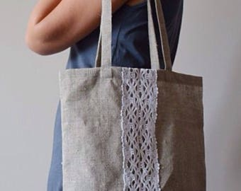100% LINEN tote bag with strip lace