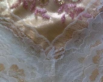 Elegant Fuscia/Gold Floral Sequin Church Lap Scarf