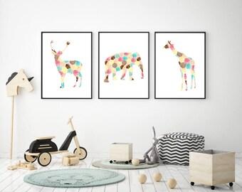 Deer elephant and Giraffe Art - hexagram rainbow print set - nursery Watercolor painting - silhouette animal illustration - African animals