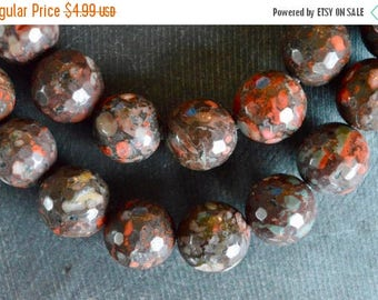 SUPER SALE 14mm Jasper Gemstone Beads Gemstone (5 beads) Brown Red Beads, Natural Gemstone Stone Beads Faceted Jasper Stone Beads